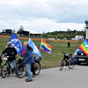 Friedensfahrradtour der DFG-VK Oberpfalz 2019 rund um einen US-Truppenübungsplatz.