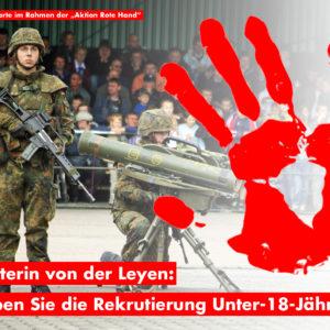 """Protestpostkarte im Ryhmen der """"Aktion Rote Hand"""""""